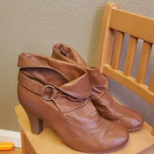 Brown heeled boots